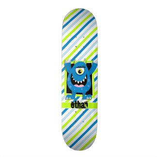 Blaues Monster;  Grüne, weiße Neonstreifen Skate Board