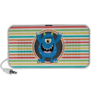 Blaues Monster Helle Regenbogen-Streifen Mini Lautsprecher