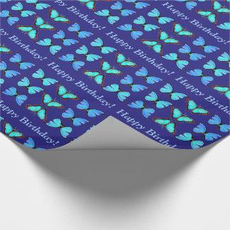 Blaues Morpho Geschenkpapier