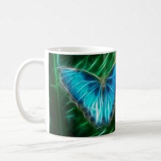 Blaues Morpho Schmetterlings-Fraktal Kaffeetasse