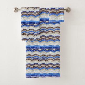 Blaues Mosaik-Badezimmer-Tuch-Set Badhandtuch Set