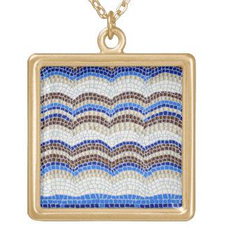 Blaues Mosaik-große quadratische Halskette