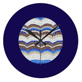 Blaues Mosaik-große runde Wanduhr