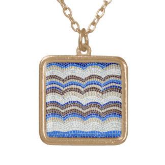 Blaues Mosaik-kleine quadratische Halskette