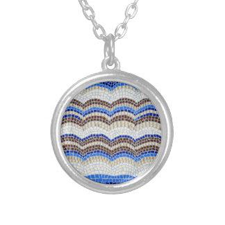 Blaues Mosaik-kleine runde Halskette