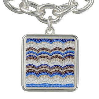 Blaues Mosaik-Quadrat-Charme-Armband Armband