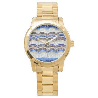 Blaues Mosaik-Unisexuhr Armbanduhr