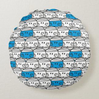 Blaues Muster Herr-Bump | Rundes Kissen