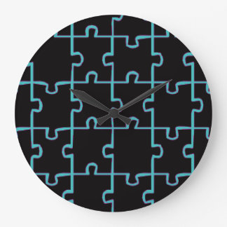 Blaues Neonpuzzlespiel Große Wanduhr