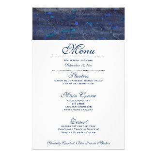 Blaues Nieselregen-Hochzeits-Abendessen-Menü 14 X 21,6 Cm Flyer