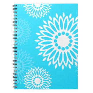 Blaues Notizbuch Blumen der Sommerzeit Spiral Notizblock