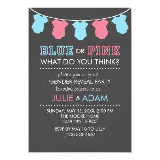 Blaues oder rosa Geschlecht decken Party einladen Karte
