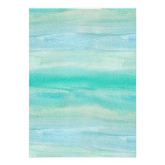 Blaues Ombre Aquarell-Wäsche-Muster Personalisierte Einladungskarte