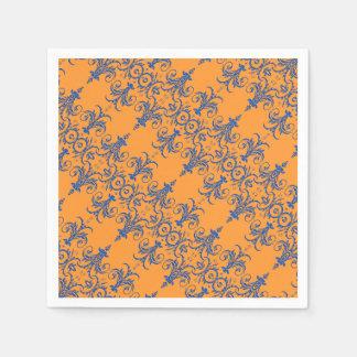 Blaues orange französisches Leuchtermuster Servietten