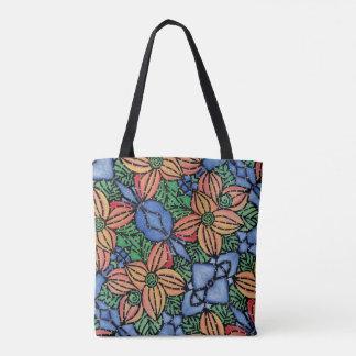 Blaues orange grünes Blumenmuster Tasche