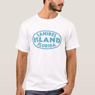 Blaues Oval Sanibel Insel-Floridas T-Shirt