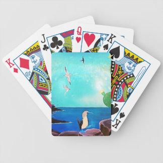 Blaues Ozean-Fliegen-Vogel-Malen Bicycle Spielkarten
