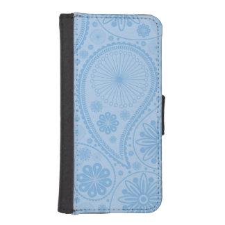 Blaues Paisley-Muster Geldbeutel Hülle Für Das iPhone SE/5/5s