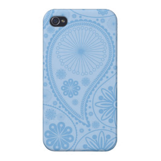 Blaues Paisley-Muster iPhone 4/4S Cover