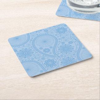 Blaues Paisley-Muster Rechteckiger Pappuntersetzer