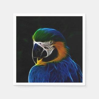 Blaues Papageien-Fraktal Digital Serviette