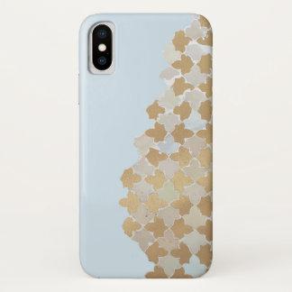 Blaues Pastell-u. Goldmosaik-Muster iPhone X Hülle
