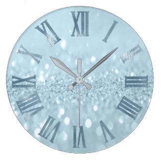 Blaues PastellGlitzer-graues Metallrömische Zahlen Große Wanduhr