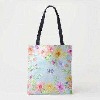 blaues Pastellkundengerechtes Sommer-Blumen Tasche