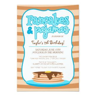 Blaues Pfannkuchen-und Pyjama-Geburtstags-Party 12,7 X 17,8 Cm Einladungskarte