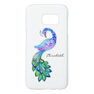Blaues Pfau-Aquarell