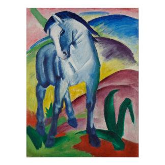 Blaues Pferd durch Vintage Expressionismus-Kunst Poster
