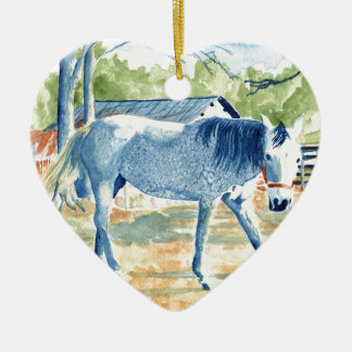 Blaues Pferd Keramik Ornament
