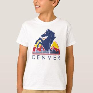 Blaues Pferdedenver-Logo T-Shirt