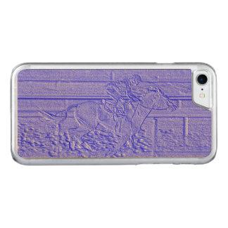 Blaues Pferderennenthoroughbred-Pastellrennpferd Carved iPhone 8/7 Hülle