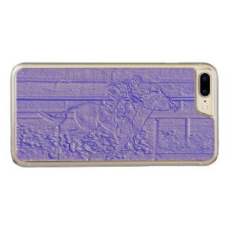 Blaues Pferderennenthoroughbred-Pastellrennpferd Carved iPhone 8 Plus/7 Plus Hülle