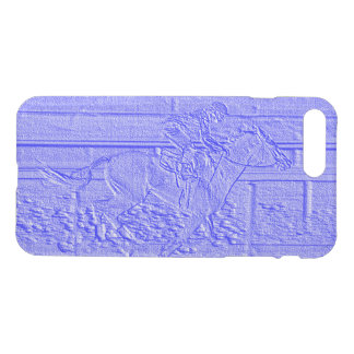 Blaues Pferderennenthoroughbred-Pastellrennpferd iPhone 8 Plus/7 Plus Hülle