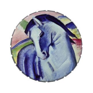 Blaues PferdeVintage feine Kunst-Malerei Franz Jelly Belly Dose