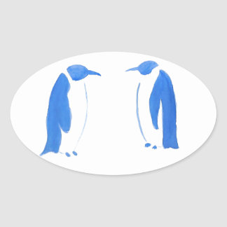 Blaues Pinguin-Duo Ovaler Aufkleber