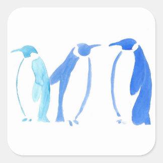 Blaues Pinguin-Trio Quadratischer Aufkleber