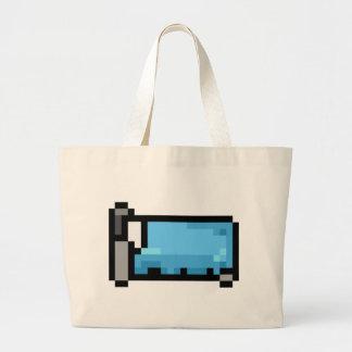 Blaues Pixel-Kunst-Bett Jumbo Stoffbeutel