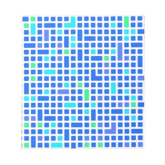 Blaues Pixel- oder Quadratmuster Notizblock