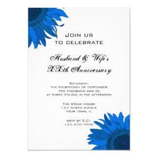 Blaues Pop-Kunst-Blumen-Hochzeits-Jahrestags-Party Karte