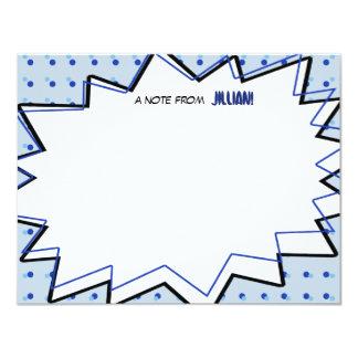 Blaues Pop-Kunst-Comic-Buch inspiriertes flaches 10,8 X 14 Cm Einladungskarte