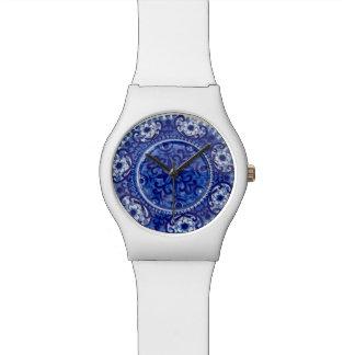 Blaues Porzellan-Muster - kundenspezifische Uhr