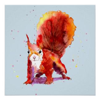 blaues Poster mit handgemaltem Eichhörnchen