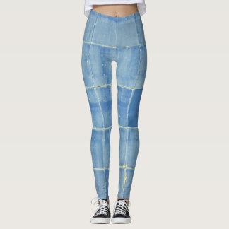 Blaues quadratisches abstraktes leggings
