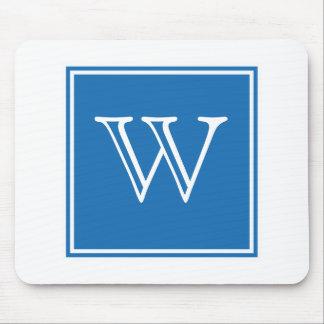 Blaues quadratisches Monogramm Mousepad
