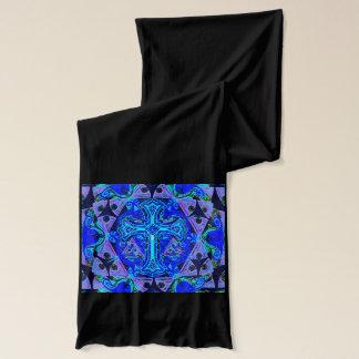 Blaues Quermuster Schal