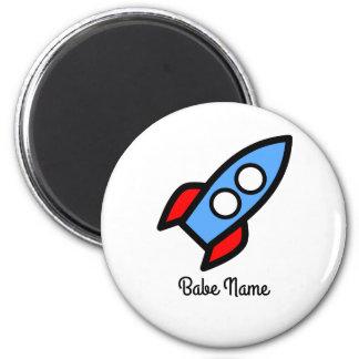 Blaues Raketenfliegen Runder Magnet 5,7 Cm