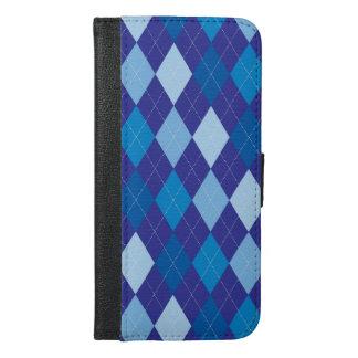 Blaues Rautenmuster iPhone 6/6s Plus Geldbeutel Hülle